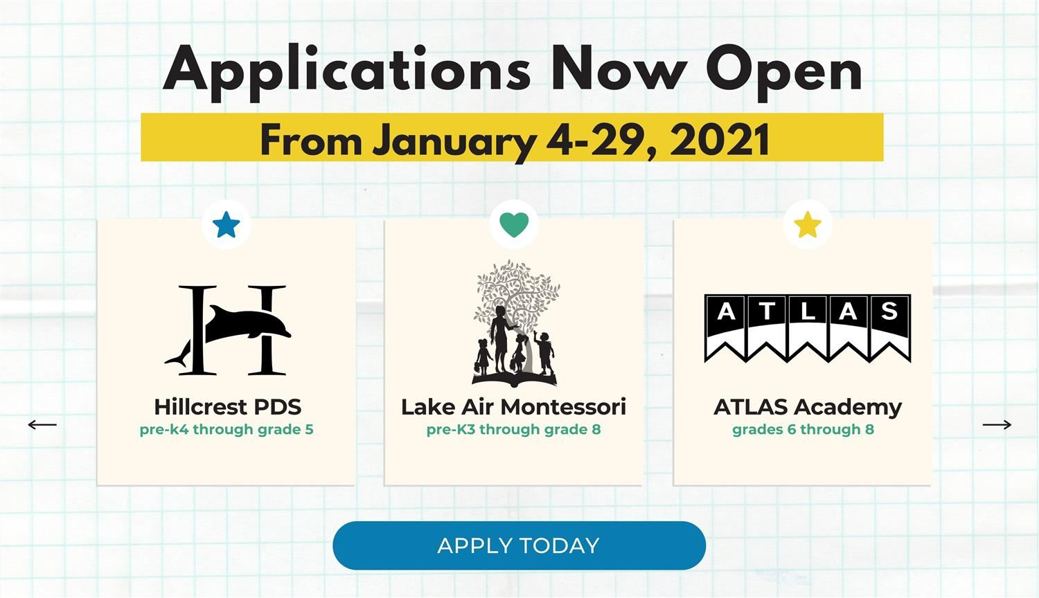 2021-2022 Magnet School and ATLAS Academy Applications Open Jan. 4-29